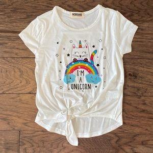 🌸NWOT🌸 Girl Rainbow Uni-Kitty Tie Front Top